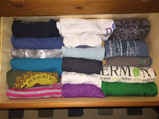 Konmari shirt drawer