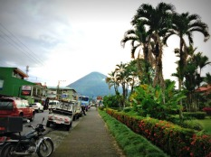 Arenal from the main street in La Fortuna