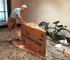 Jack packing up his bike to ship back to Oregon!